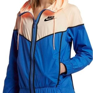✔️ Nike Peach x Blue Colorblock Windbreaker Jacket